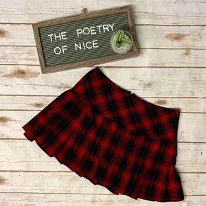 Hot Topic Red & Black Plaid Pleated Mini Skirt